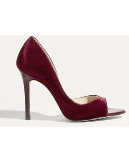 Velvet Open-toe Court Heels - Red