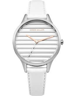 Striped Dial Leather Watch - White