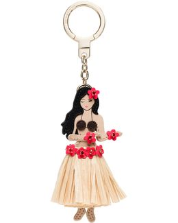 Leather Hula Girl Keychain