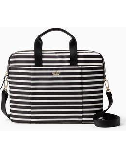 Stripe Nylon Laptop Bag
