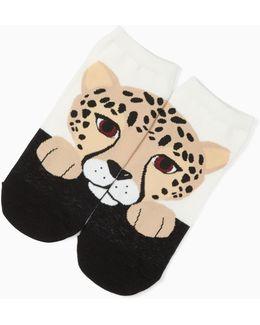 Cheetah No Show Socks