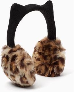 Faux Leopard Earmuff With Ears