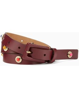 "3/4"" Leather Belt With Enamel And Metal Studs"