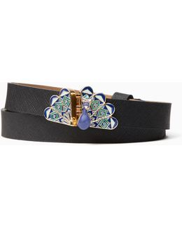 "3/4"" Saffiano Belt With Peacock Buckle"