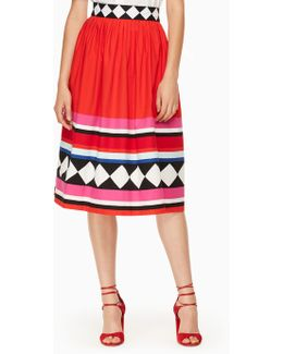 Geo Border Poplin Skirt