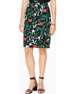 Jardin Tile Jacquard Pencil Skirt