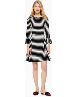 Stripe Ponte Fit And Flare Dress