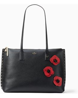 On Purpose Zip-top Poppy Studded Leather Tote