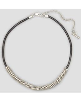 Silver-tone Seed Bead Wrapped Leather Necklace