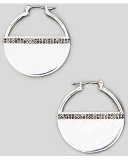 Pave Silver Hoop Earring