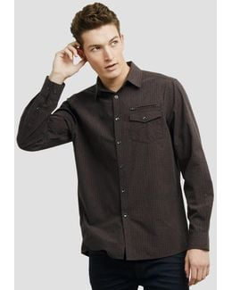 Long-sleeve Button-front Shirt With Zip