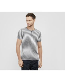 Short Sleeve Marled Stripe Henley