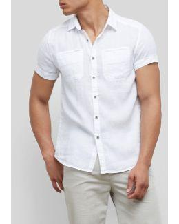 Short-sleeve Linen Button-front Shirt