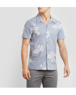 Short-sleeve Etched Tropical Print Detail