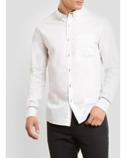 Constrast Stitching Long-sleeve Stretch Shirt