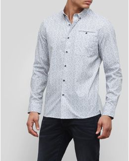 Long-sleeve Stretch White Noise Print Shirt