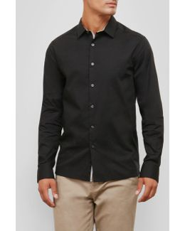 Long-sleeve Solid Stretch Shirt