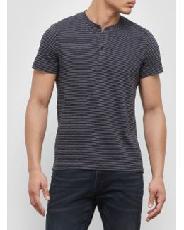 Short Sleeve Mini Stripe Henley