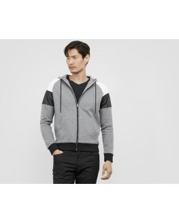 Zip Up Hoodie With Pleather And Mesh