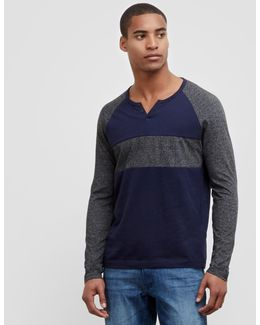 Long Sleeve Two-tone Henley