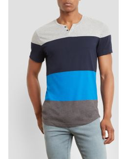 Short-sleeve Colorblock Henley