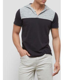 Short-sleeve Color Block Hoodie
