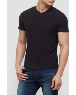 Short-sleeve Slub V-neck T-shirt