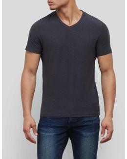 Short-sleeve Slub V-neck T-shirt