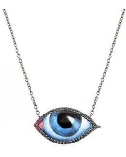 14k Gold Eye Necklace