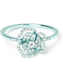 Pave Diamond Flower Cutout Ring