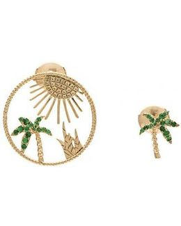 Palm Tree Sun Earring Set