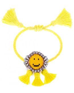 Yellow 'hippie Happy Face' Bracelet