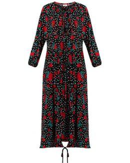 Rose And Polka-dot Jersey Dress
