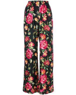Roses Print Silk Pajama Set