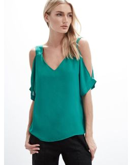 Cold Shoulder Cuffed Tee