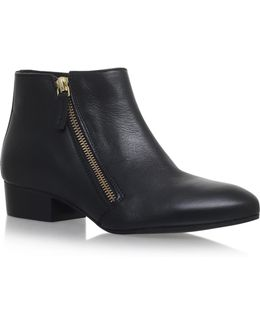 Sally Leather Asymmetric Zip Ankle Boots
