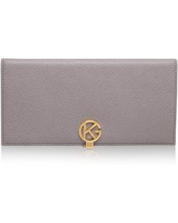 Saffiano Logo Wallet In Taupe