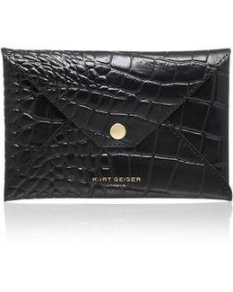 Croc Passport Holder In Black
