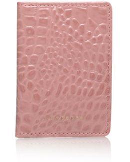 Croc Travel Card Holder In Pink