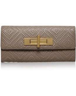 Woven Lock Wallet In Taupe