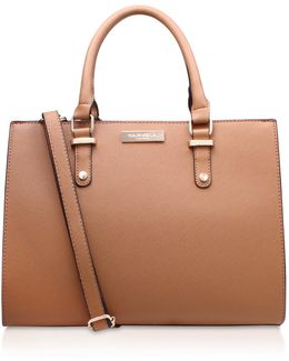 Race Structured Tote In Tan