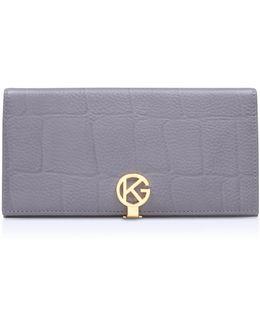 Leather Logo Wallet In Grey