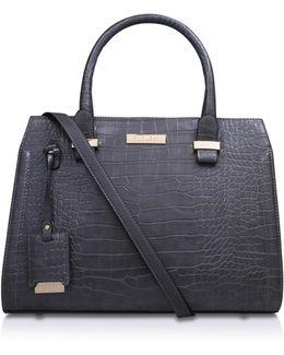 Holly Croc Zip Bag In Grey