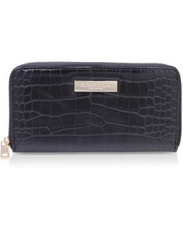 Alison2 Croc Wallet In Black