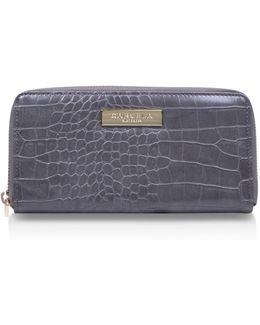 Alison2 Croc Wallet In Grey