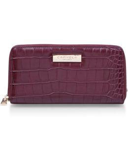 Alison2 Croc Wallet In Wine