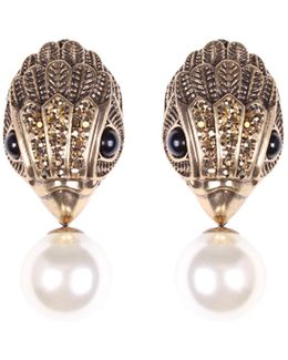 Eagle And Pearl Earrings In Gold