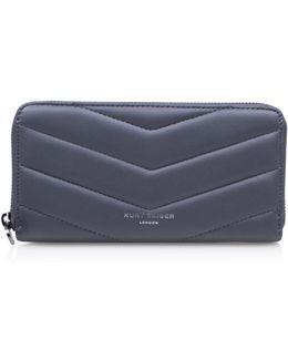Leather Zip Around Wallet In Grey