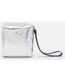 Soft Metallic Leather Mini Cube Bag