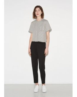 Frayed Striped Cotton Top